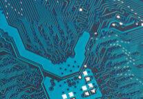 Computerplatine, Symbolfoto für Computer, Hardware, Miniaturisierung, Hightech